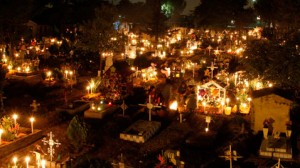 Cemetery at Night on Day of the Dead