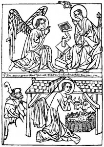Medieval Woodcut depicting the Visitation and the Nativity