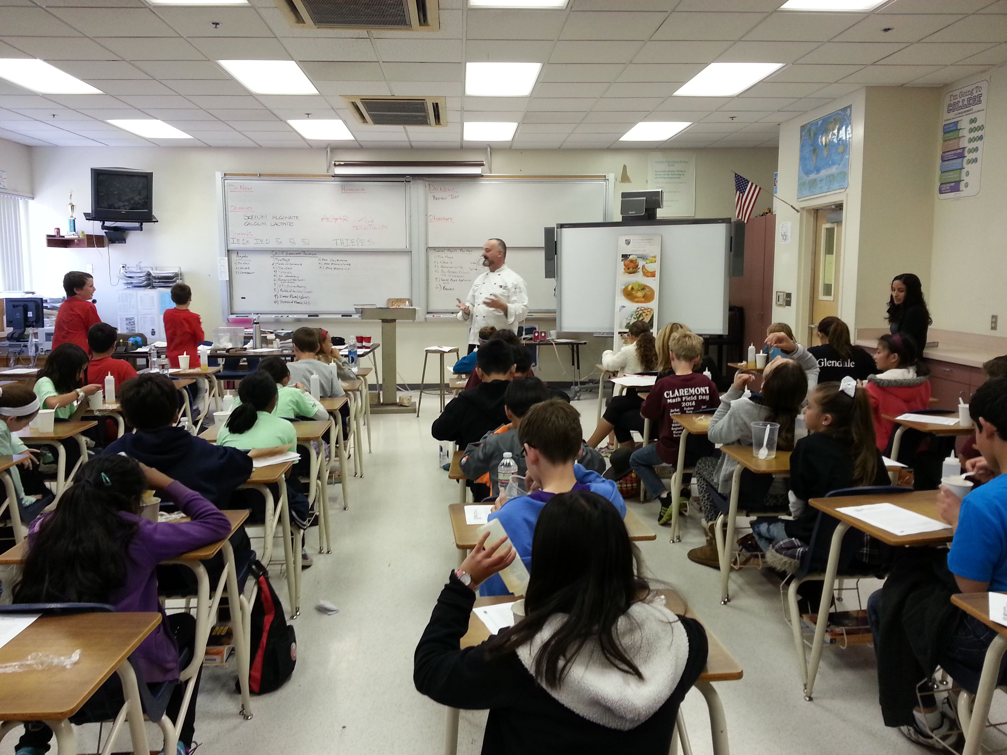 Mauro Rossi of Art Institute with Fifth Graders