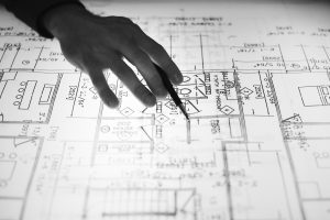Engineering hand sketching blueprint