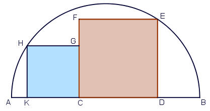 Two squares in a semicircle